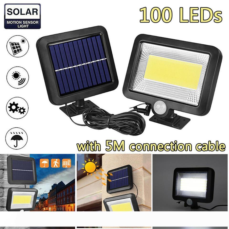 100LED Solar Power Rua Spotlight PIR Motion Sensor Outdoor Jardim Luz Segurança Night Recados Dividir Solar Luz Flood Lamp