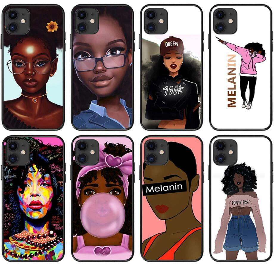 Fashion Black Girl Case For Iphone 12 12 mini 11 Pro Xs Max Xr 6 7 8 X Plus Girlfriends TPU Soft Cell Phone Case