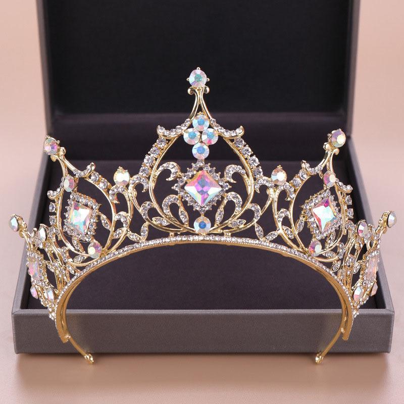 2019 Hot Sale Retro Baroque Round Gold Crystal Tiara Crowns Diadem for Girl Queen Bride Bridal Wedding Hair Jewelry Headpieces Y200727
