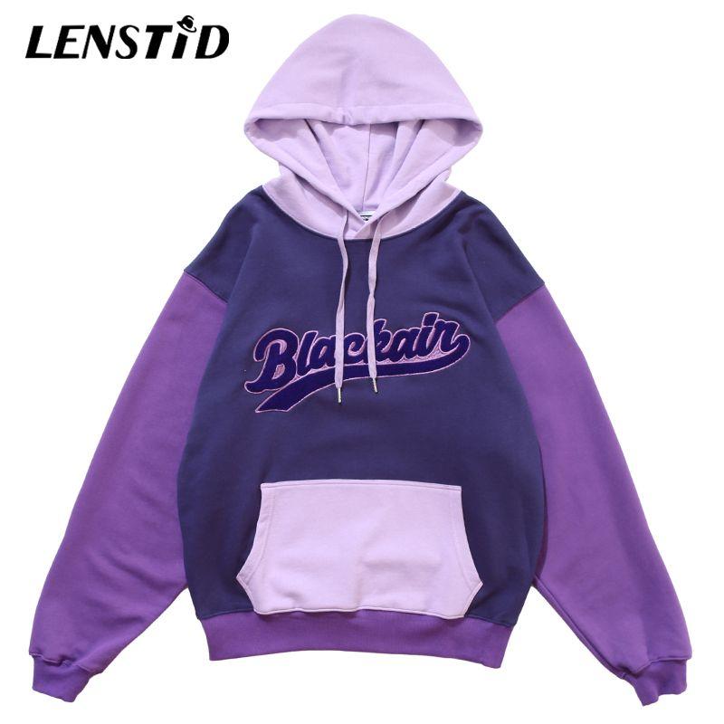 Men Hip Hop Pullover Hoodies Color Block Patchwork Streetwear Harajuku Autumn Cotton College Style Hooded Sweatshirts