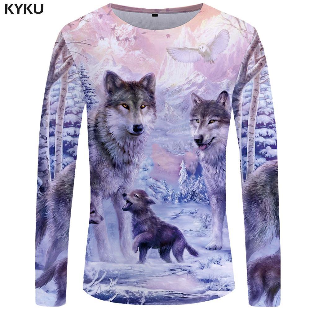KYKU Wolf майка Мужская рубашка с длинным рукавом Любовь Streetwear снег Graphic Mountain Одежда Джунгли 3d футболки Hip хмель Мужская одежда MX200508