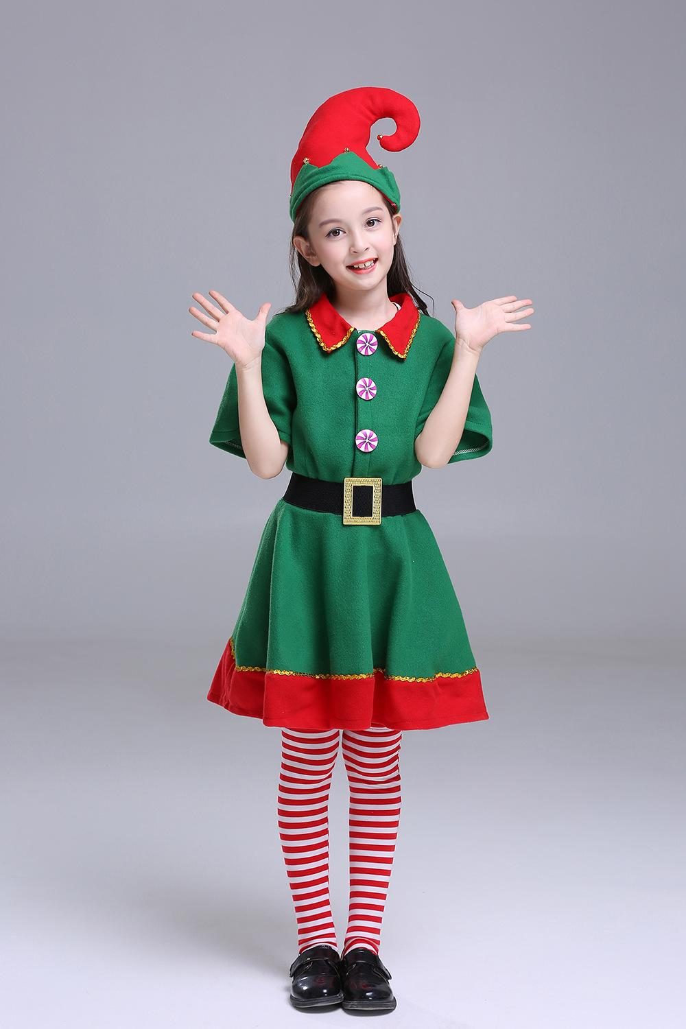 Clothing Sets Christmas Costume Childrens Christmas Elf Costume Cosplay Parent Child Costume Festival Adult Men and Women Green Christmas
