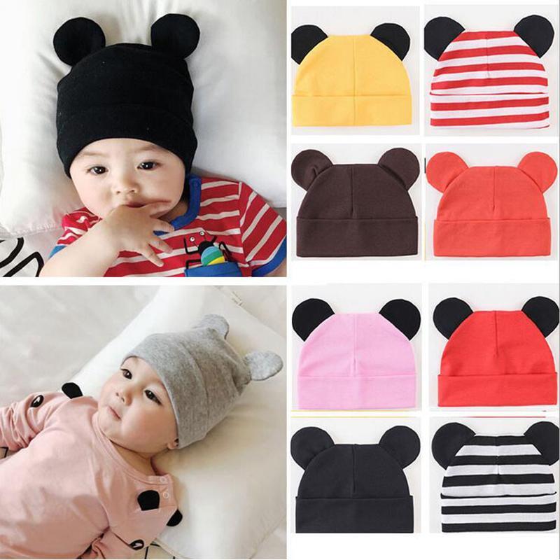 Con sombrero del bebé caliente orejas de algodón recién nacido bebé de los accesorios del otoño del muchacho del sombrero del invierno para los niños Infant Toddler Beanie Cap niñas