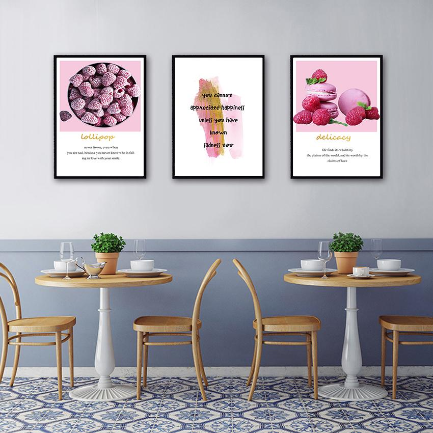 Pink Girls Room Decor Hd Print Raspberry Dessert Cake Poster Nordic Decoration Home Picture Wall Art Canvas Painting for Kitchen