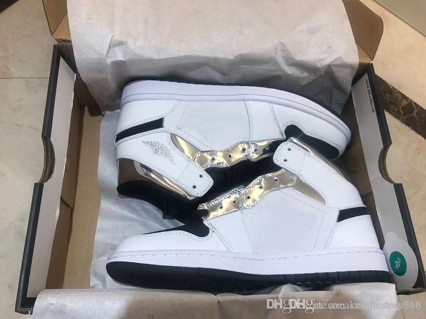 308497-060 Erkekler Otantik Sneakers Gerçek Deri büyüklüğü 7-11 İÇİN GELEN 2019 1 Yüksek OG NRG hürmet etmek Ev H2H Bred Basketbol Ayakkabıları