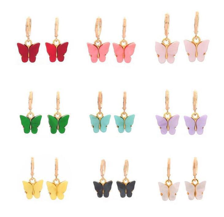 Fashion 9 Colors Cute Butterfly Earrings Street Style Drop Earrings Acryli Dangle Earrings Jewelry for Women Girll Party Gifts Free Shipping