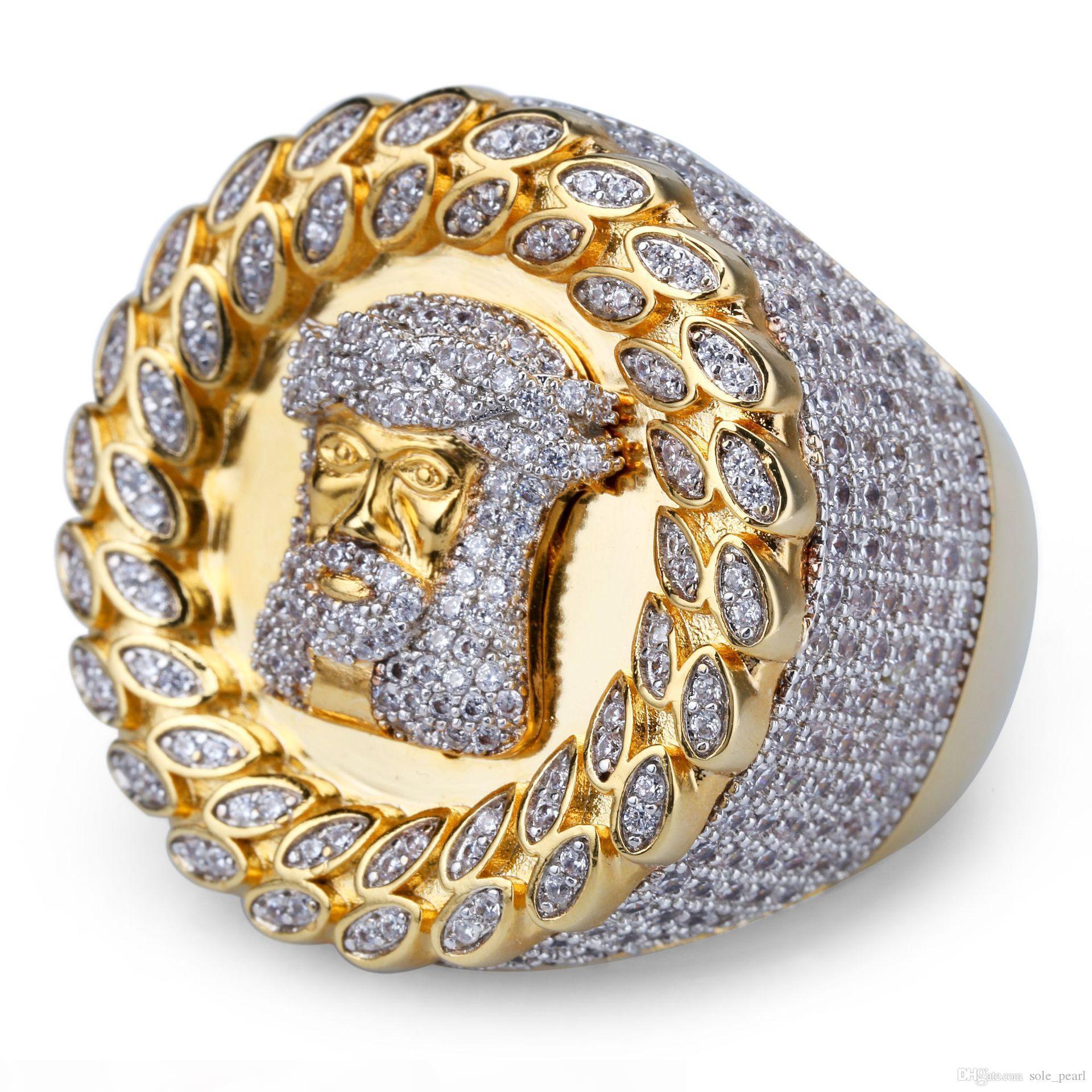 Herrenring Vintage Hip Hop Schmuck großen Rubin Zircon Kupfer-Ring Hochwertige Luxus für Liebhaber Modeschmuck Großhandel 2018 gefror heraus