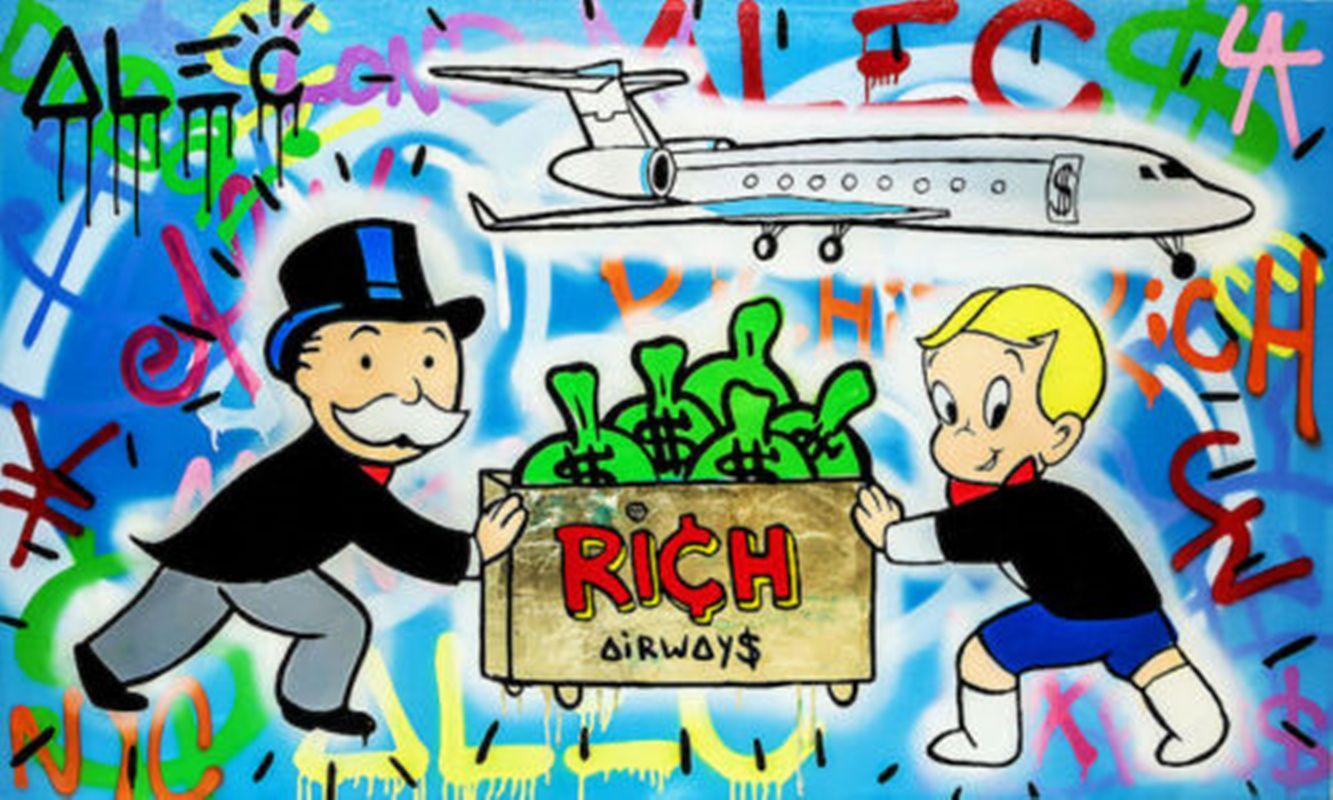 Alec Monopoly Rich Airways Decoración pintado a mano de la impresión de HD pintura al óleo sobre lienzo de arte cuadros de la pared de lona 200730