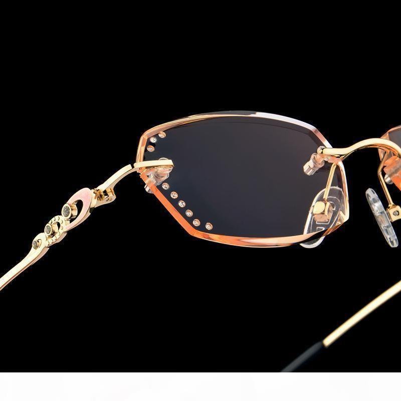 R LuxuxRhinestone Lesebrille Frauen Diamant-Ausschnitt Rimless Glasses Männer Frauen '; S Golden Leser Presbyopic Augen-Glas-C190