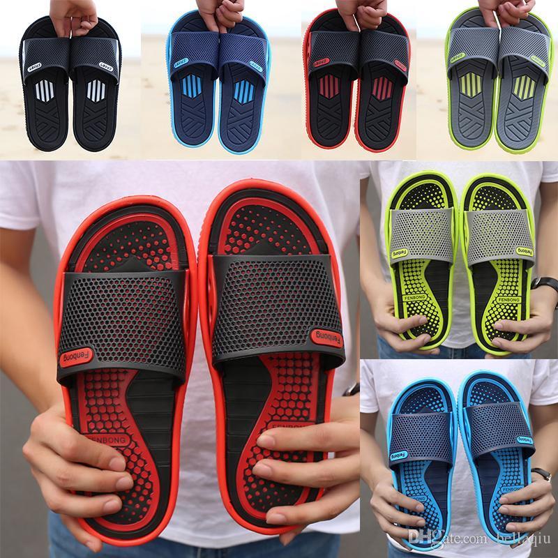 7 Arten Slippers Männer Schuhe Strandschuhe atmungsaktiv Wort Drag Sommer Massage unten Outdoor-Sport und Freizeit rutschfeste Sandalen und Pantoffeln