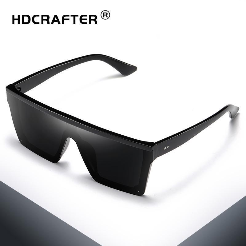 HDCRAFTER Retro quadratische Sonnenbrille Flat-Top Design Männer Sonnenbrille Fahren im Freien Sport Sun GlassDR27