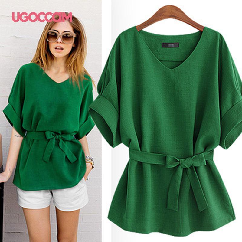 UGOCCAM лето Женщина Блузы V шеи Sexy Блузы женщины с коротким рукавом Блузки Сыпучей блузка рубашка Плюс Размер Топы blusas Женщины