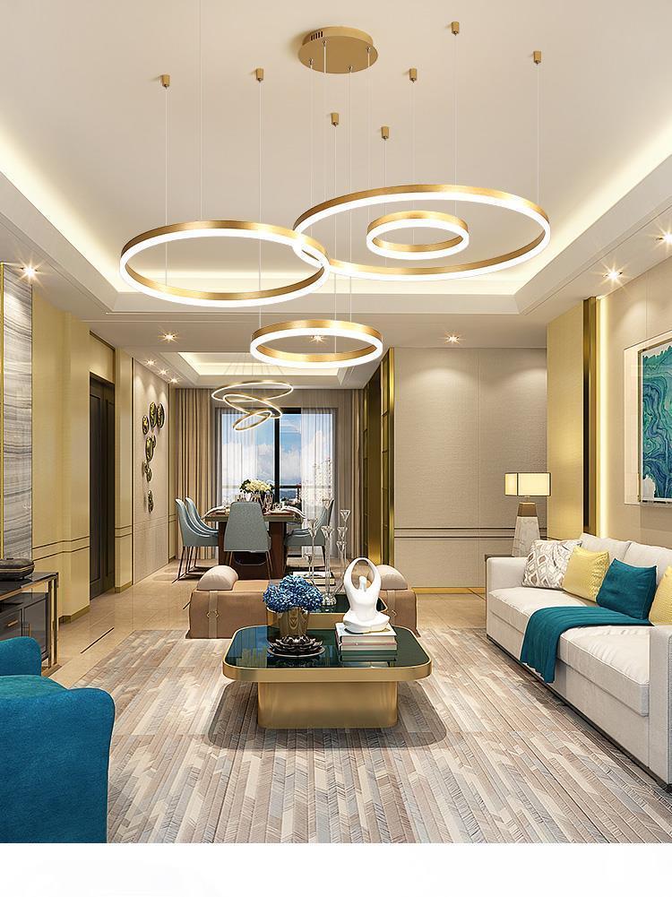 Soggiorno lampadario moderno e minimalista lampada casa creativa anello personalità arte atmosfera moderno ristorante lampade a led