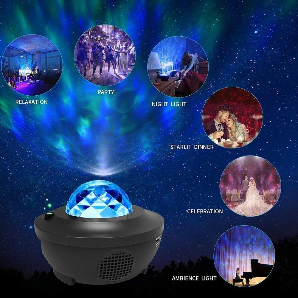 로맨틱 다채로운 별이 빛나는 하늘 바다 프로젝터 밤 빛 원격 제어 해양 웨이브 프로젝션 램프 블루투스 음악 스피커