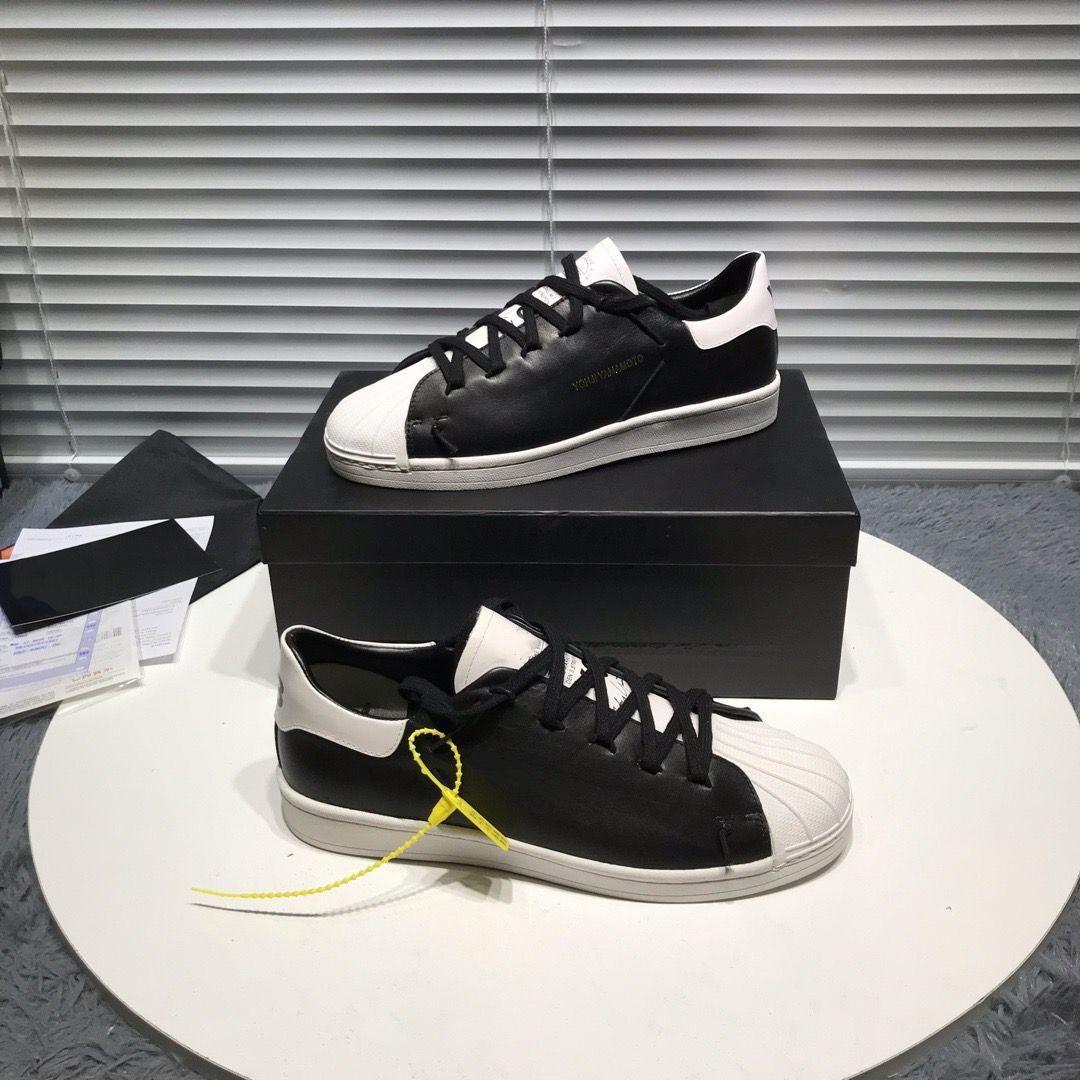 Y-3 2020 Datum Y3 Signature neue matte Leder bequeme Schale Schuhe wilden flachen Mund flachen Boden Schuhe Freizeitschuhe bmb04