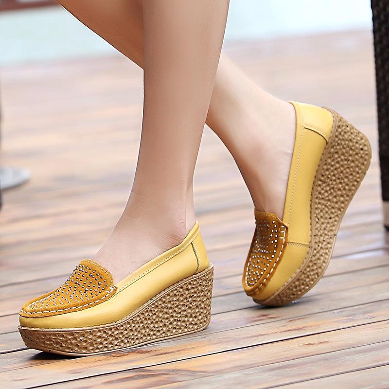 Piattaforma del cuneo di cuoio genuino delle donne scarpe da donna Slip On cristallo Ballerine tacco alto sette centimetri di spessore Sole Shallow appartamenti dei pattini casuali CX200720