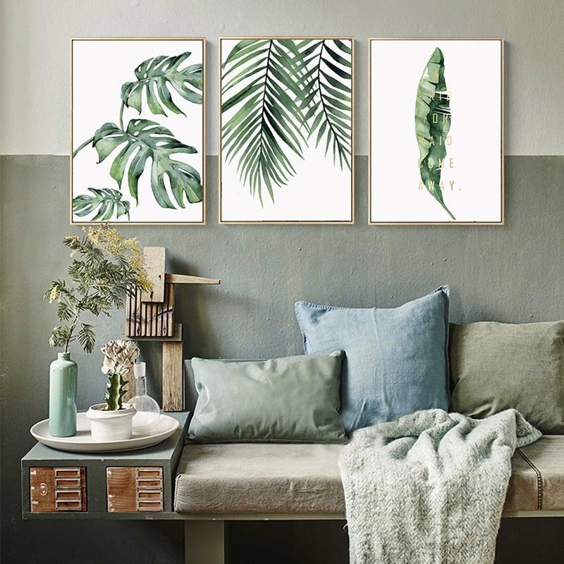 Oda Ev Dekorasyonu Yemek için Nordic Tuval Wall Art Poster Baskılar Duvar Sanatı Resim Boyama 3 Paneller Modern Suluboya Yeşil Yapraklar Bitki Yağı