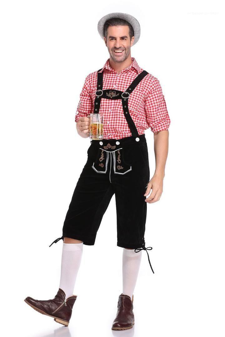 Verão Roupa Moda Mens Oktoberfest Two Piece Define camisas xadrez Macacões Calças 2pcs masculinos do Dia das Bruxas