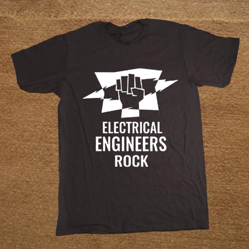 Инженер-электрик Инженеры Rock День рождения на заказ 100% хлопок Футболка Мужчины Новизна коротким рукавом Футболка Топ тройники
