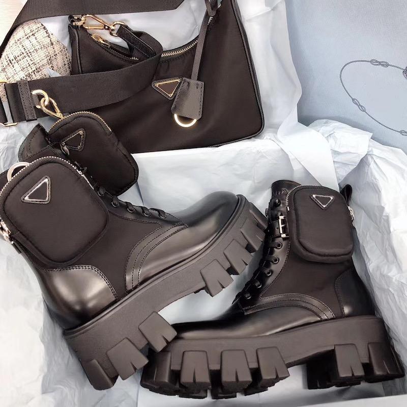 2020 Rois Boots Nylon Derby Ankle Martin boots Women Battle Leather Shoes Black Rubber Sole Platform Shoes Nylon Pouch With Box