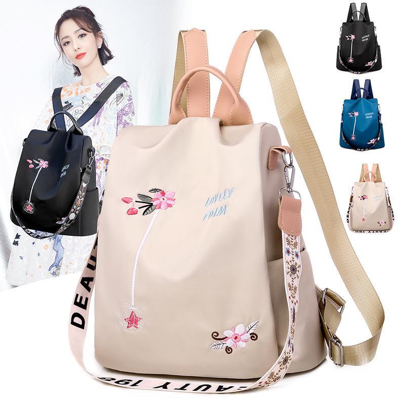 Hombro Nuevo Coreano para los estudiantes para las mujeres Doble Edición individual Oxford Bordado Bolsa 2020 Bolsa de mochila Hombro inclinado McOWQ