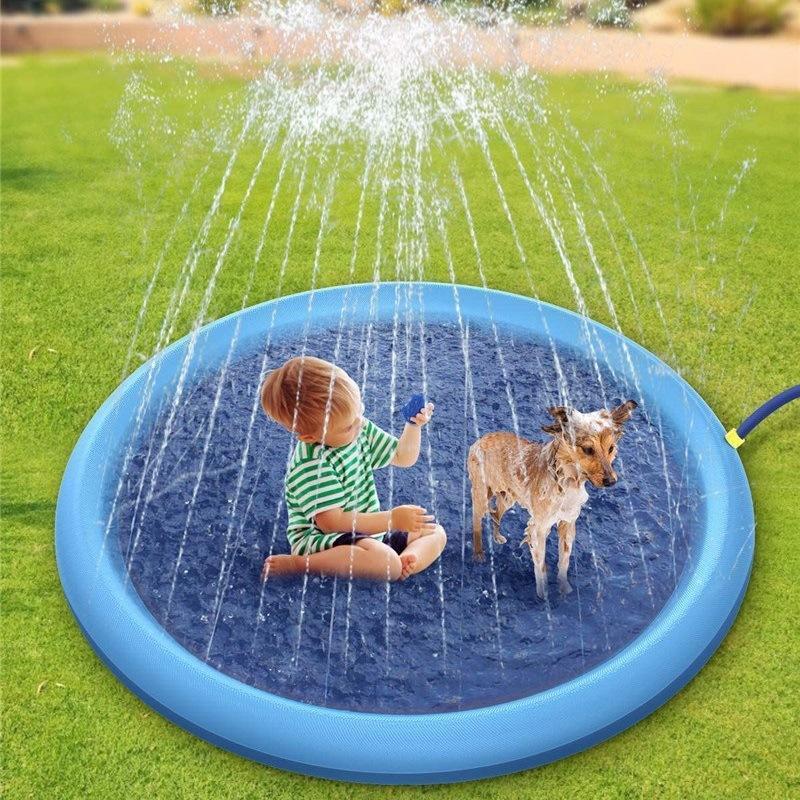 150cm Kids Play Mats Outdoor Inflatable Sprinkler Pads Water Fun Spray Mat Splash Water Mats Toddler Baby Pet Dog Swimming Pool DHC182