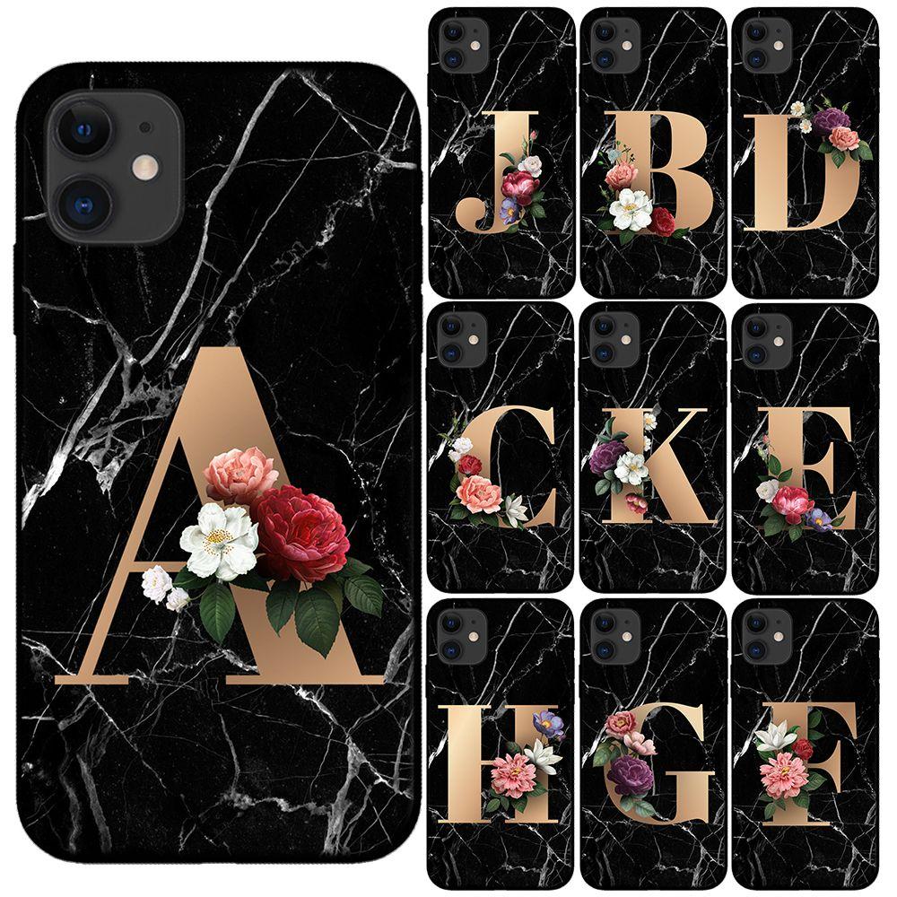 Lettre personnalisée sur mesure initiale Fleurs Marbre Noir Silicone Téléphone cas pour l'iPhone 11 Pro Max X XS Max XR 6 7 8 Plus 6S
