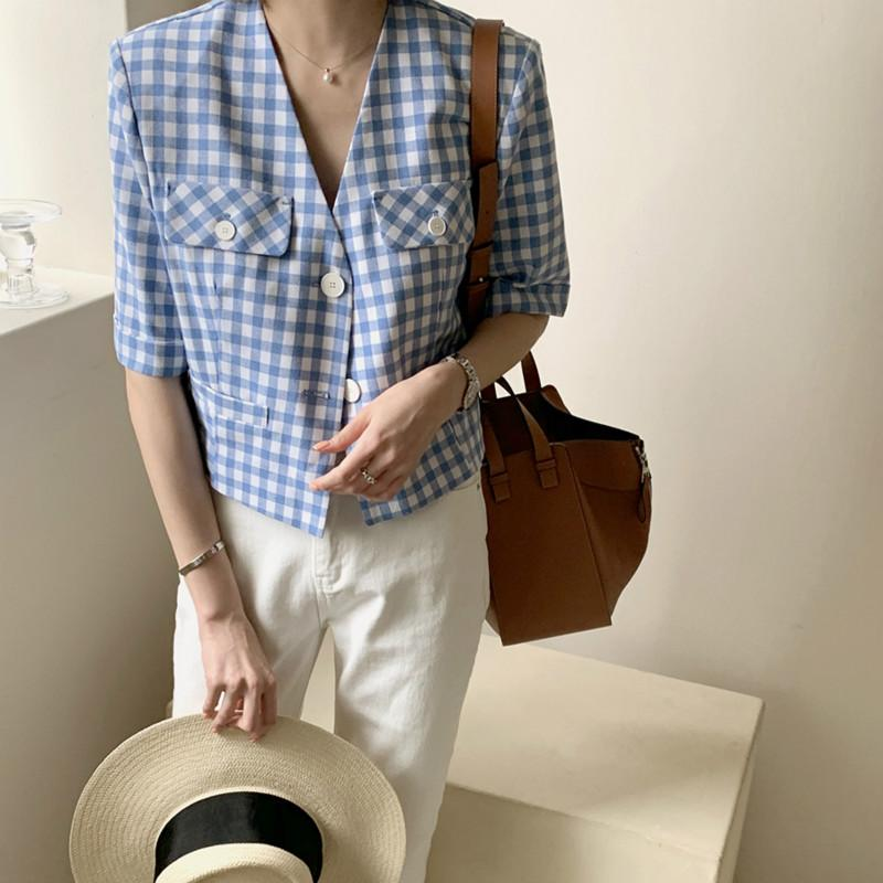 Women Summer Blue Plaid V Neck Short Coat Jacket Thin Outwear Single Breasted Loose Cardigan Top Pockets