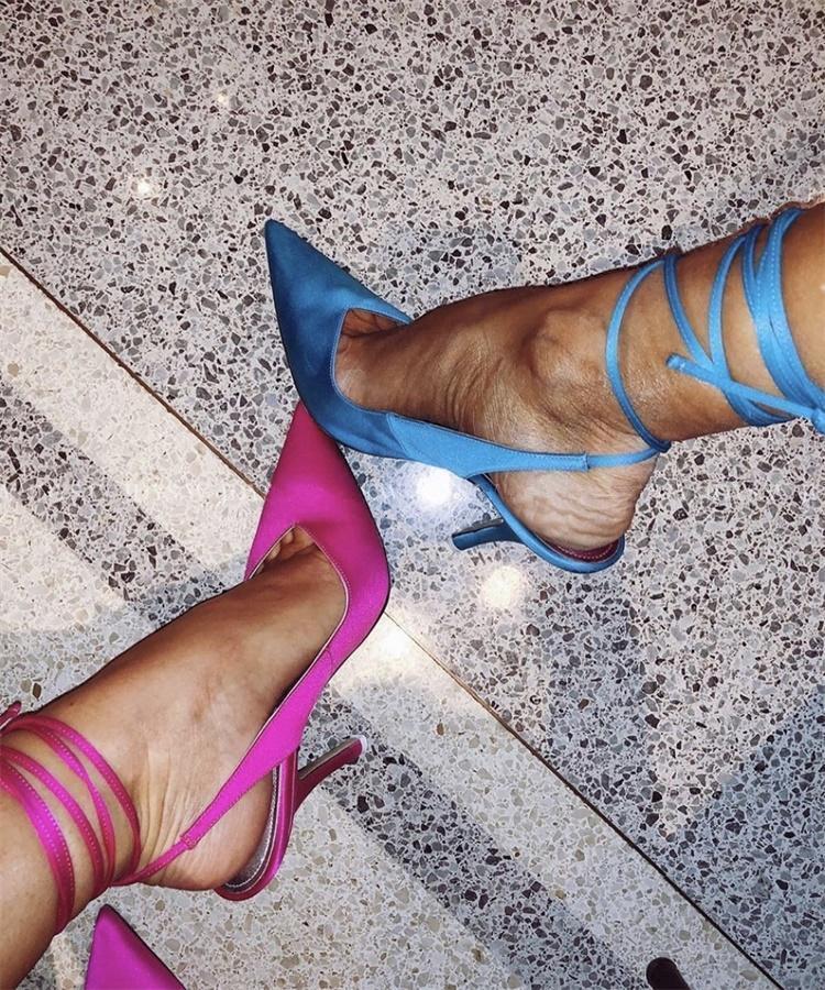 Весна 2020 новый стиль заостренный носок высокий каблук ремешок женщин вечернее платье партия обуви