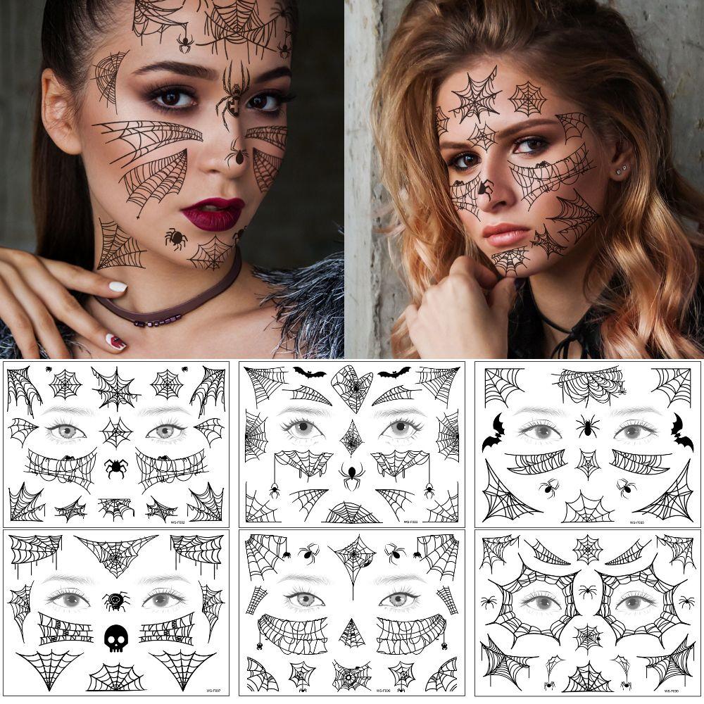 Stile di Halloween Viso Giorno trucco del corpo del tatuaggio falso nero Ragnatela Bat scuro Dacing Funning design impermeabile Sticker temporay Tattoo per Ragazze