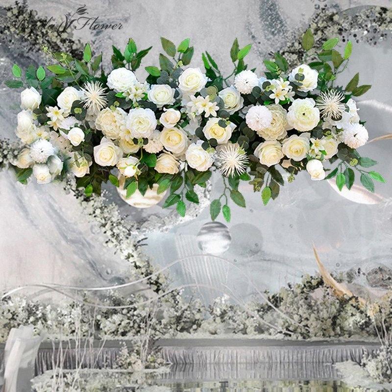 Fiore di cerimonia nuziale arco disposizione fila del partito fai da te fiori decorazione di seta rosa peonia centrotavola tavolo palla artificiale corridore CX3a #