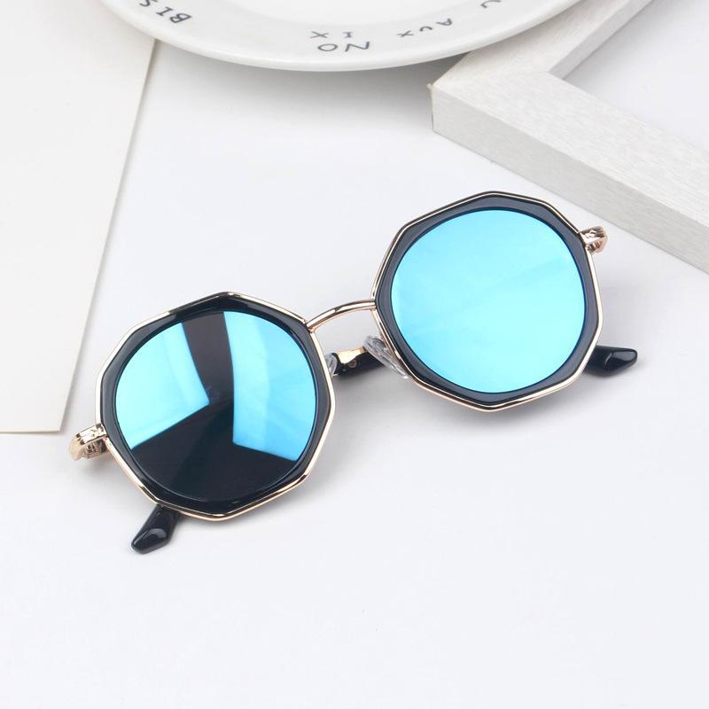 2020 specchio Kid stilista occhiali da sole blu dei poligoni da sole ragazzo di anti UV regalo principessa Shades Ragazze occhiali