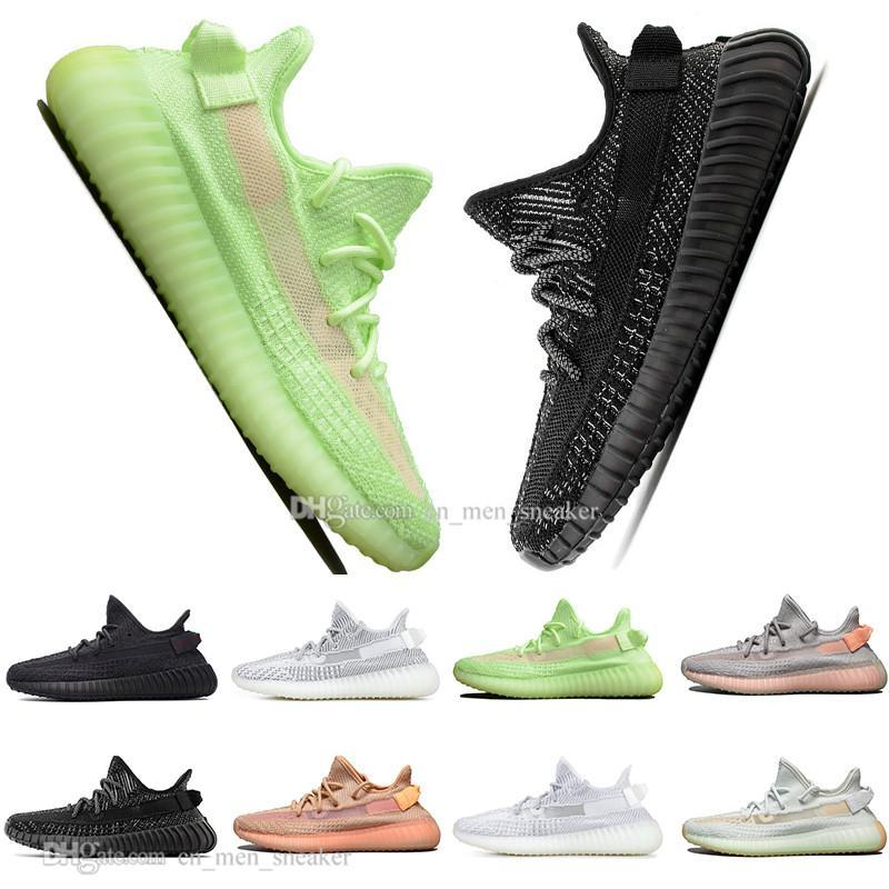 ssYEzZYYEzZYs v2 350boost Drop Shipping Kanye West Clay V2 Static Reflective Glow In The Dark Mens Running Shoes Hyperspace T