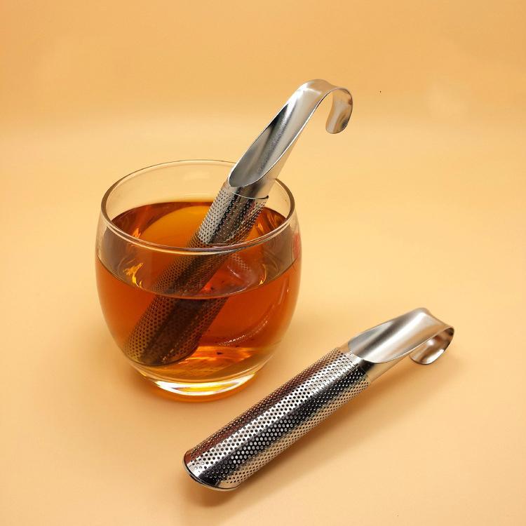 tè sfuso infusore tubo bastone SS304 filtro in acciaio inossidabile Tipo sospensione setaccio SS sacchetto a rete fiore tè stir