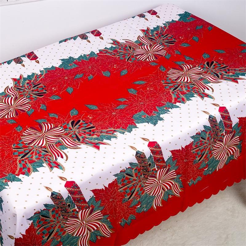 Tovaglia di Natale della fibra di poliestere Tabella Stampa di copertine di Bell Bow Tovaglia antivegetativa Desktop modo della decorazione di vendita calda 12xba