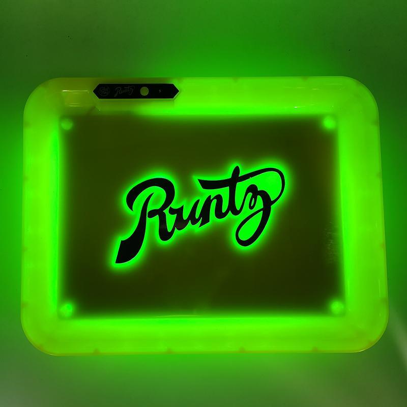 لوحة Runtz Glowtray الأبيض أحمر أخضر أصفر أرجواني LED المتداول الوهج صينية قابلة للشحن من البلاستيك لخراطيش مع تغليف صندوق
