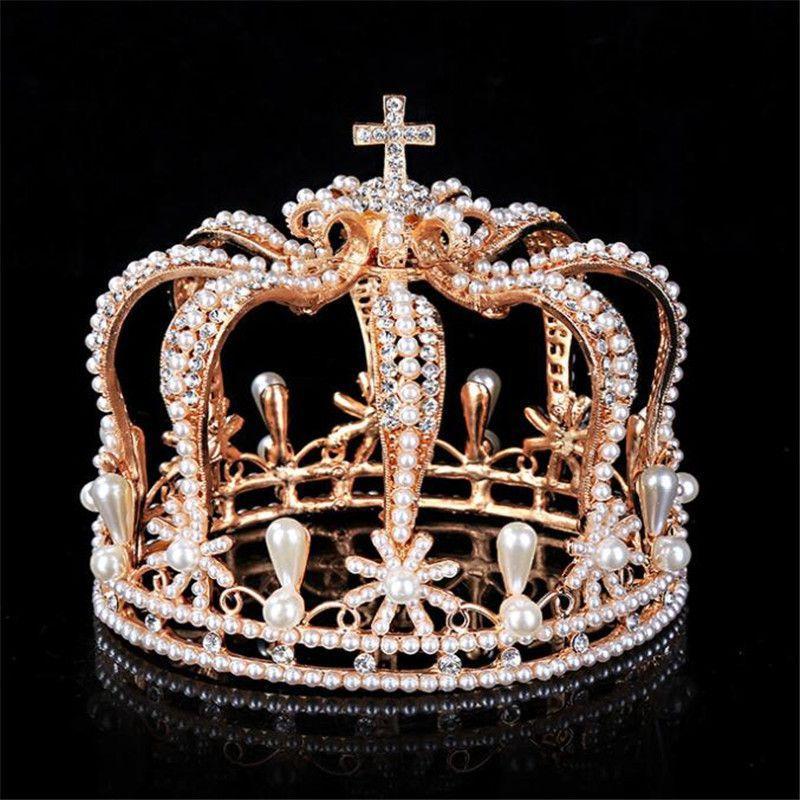 Cruz barroco Crown nupcial coroa casamento cocar Royal King Tiaras e desempenho Crowns Masculino Pearls Wedding cabelo Jóias MX200720
