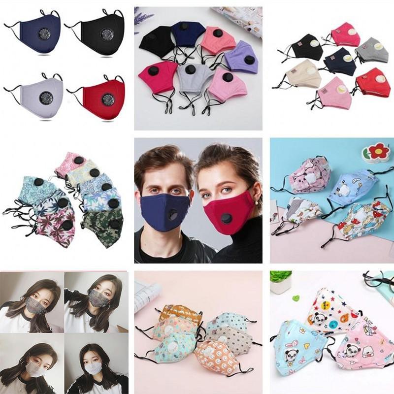 US Stock adulte Masque Tissu enfants avec robinet réutilisable masque facial Masques Cartoon visage coton anti poussière reniflard anti filtre poussière visage PM2.5 Mask