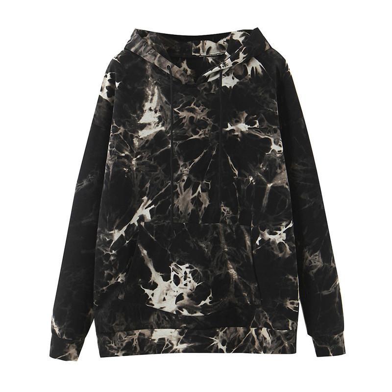 Mulheres Moda Tie Dye Imprimir camisola cordão manga comprida Outono Inverno Mulheres Roupa Streetwear Hoodie preto Tops T200729