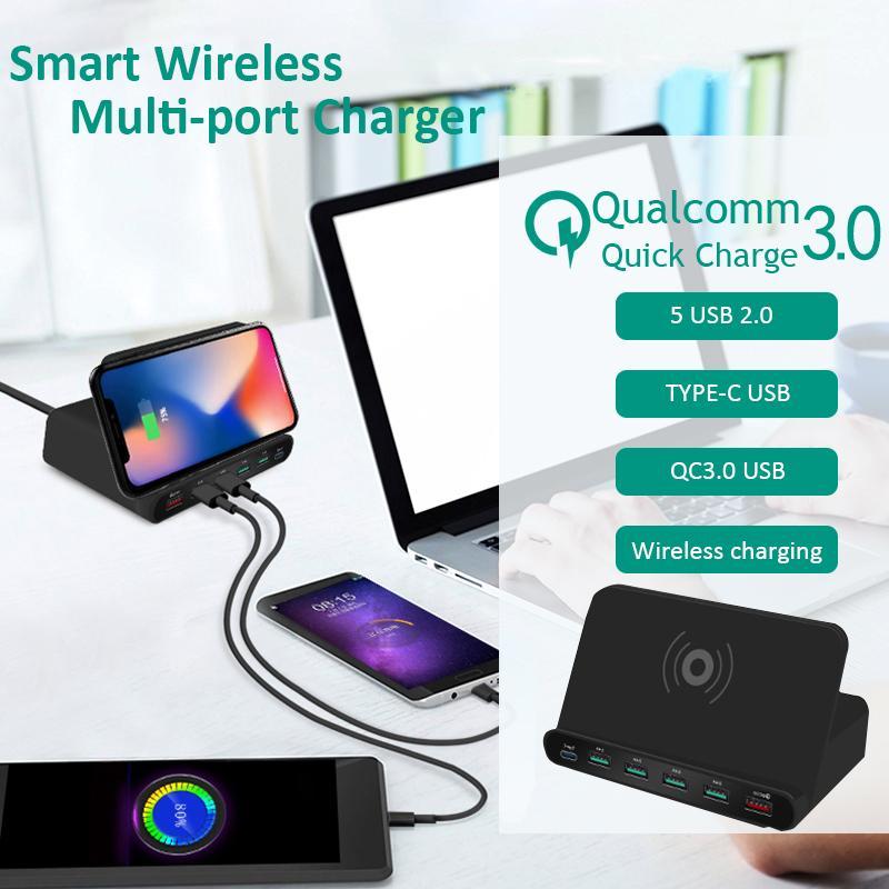 빠른 SUMSUNG 샤오 미의 경우 충전 60W 6 포트 USB 제나라 무선 충전기를 들어 아이폰 (11) POR MAX X XS MAX의 USB 급속 충전 QC 3.0 LCD 디스플레이