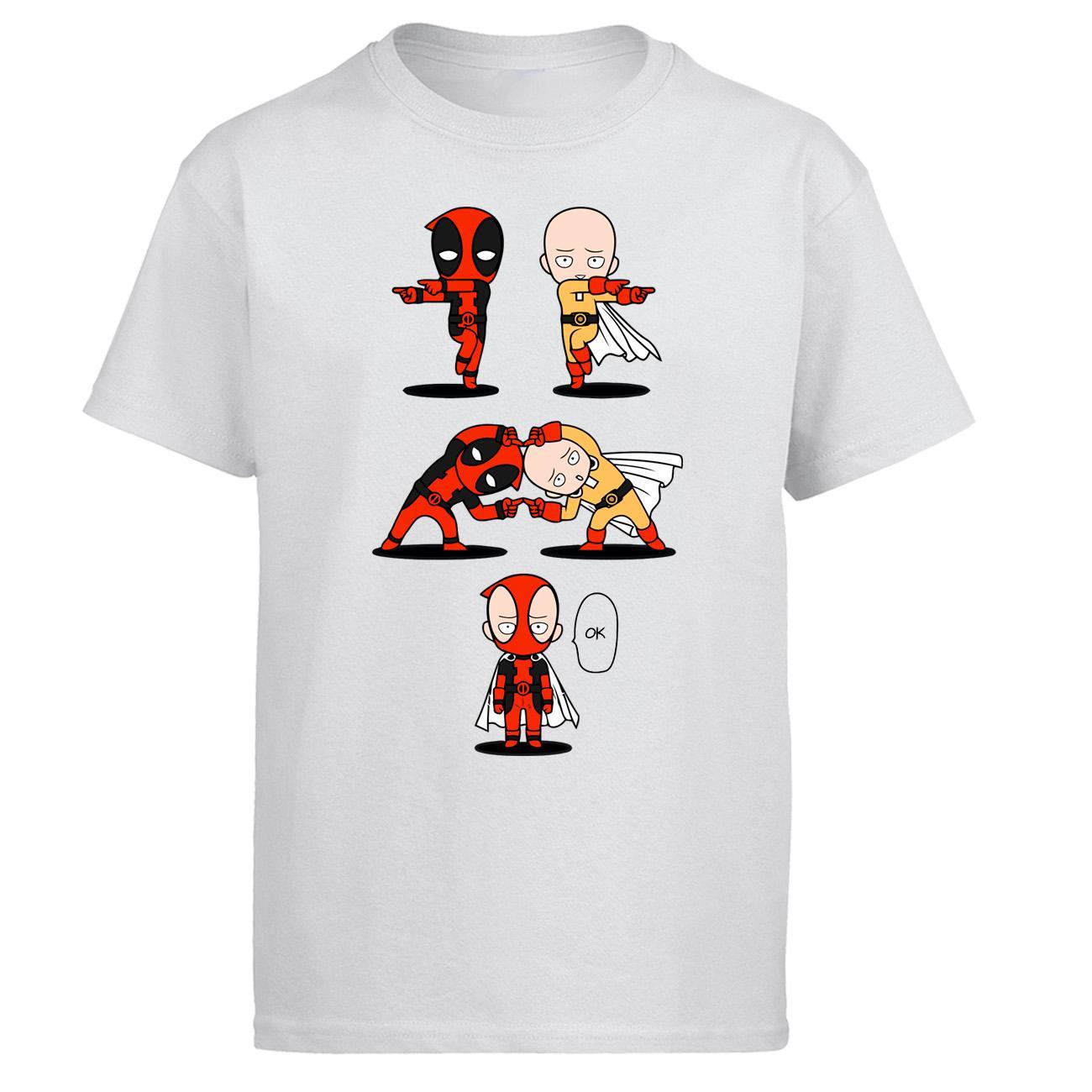 Dealpool Wade Winston Wilson Tişört Erkekler Tek Punch Man Saitama Tişörtlü Yaz Pamuk Kısa Kollu Komik Fusion TAMAM T-Shirt