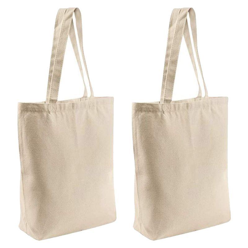 2 Stück wiederverwendbare leere Leinwand-Tasche, für Einkaufstüten, Buchtaschen, Einkaufstaschen, Handwerk DIY Zeichnung, Geschenk-Taschen, Etc.