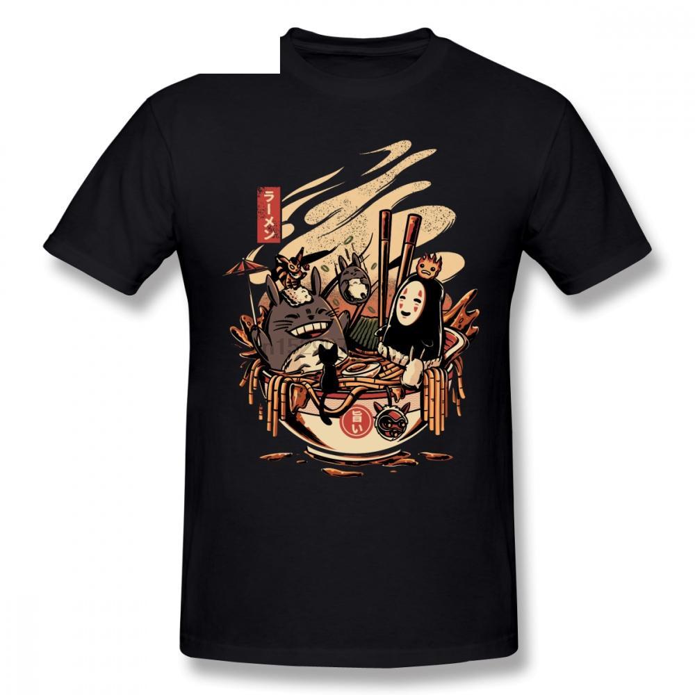 De algodão de manga curta Aplicar Princesa Mononoke Homens Homme Camiseta T Shirt Pop Cosplay Big Size Pool Party Ramen