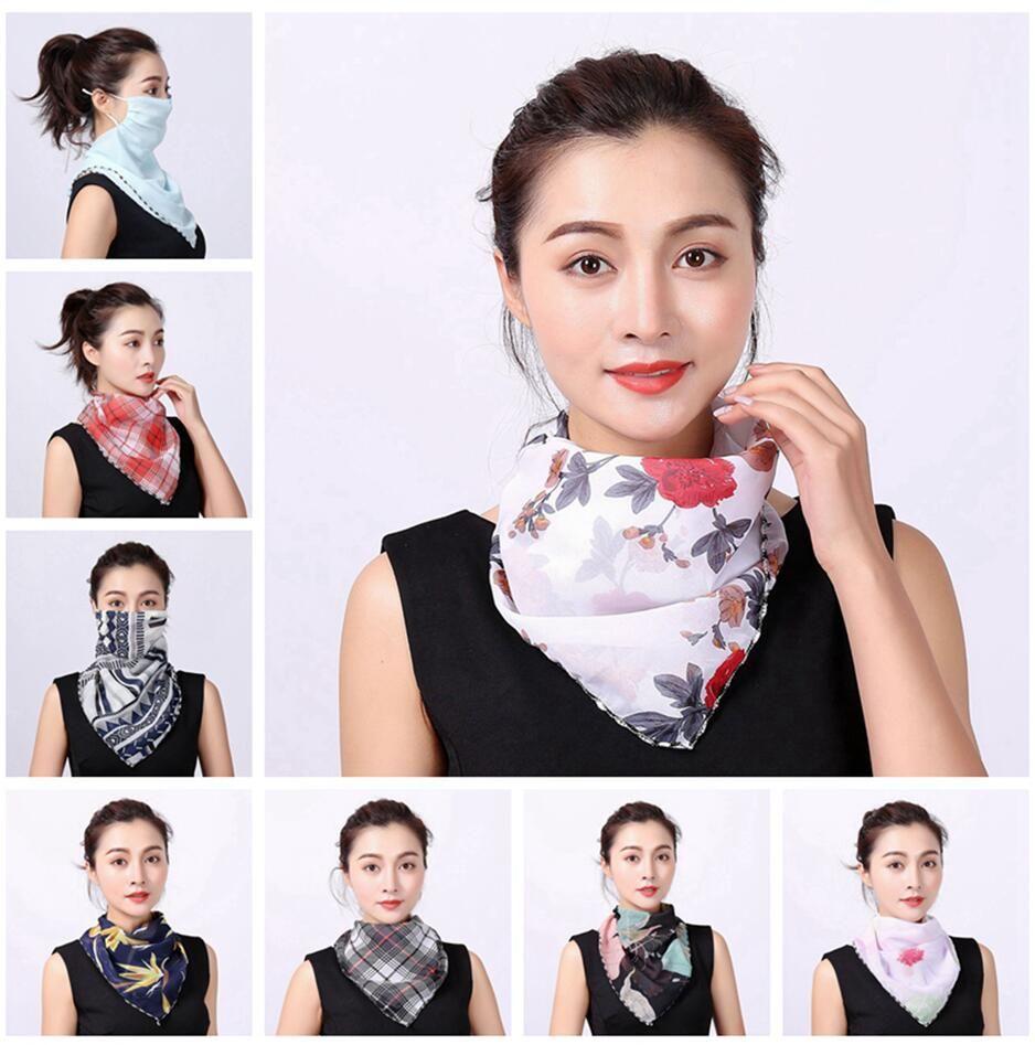 Цветочный принт ветрозащитный шарф Мода Anti-UV Открытый спорт Велоспорт маска для лица Женщины Леди Лето шейный Регулируемая шеи протектор LJJP224