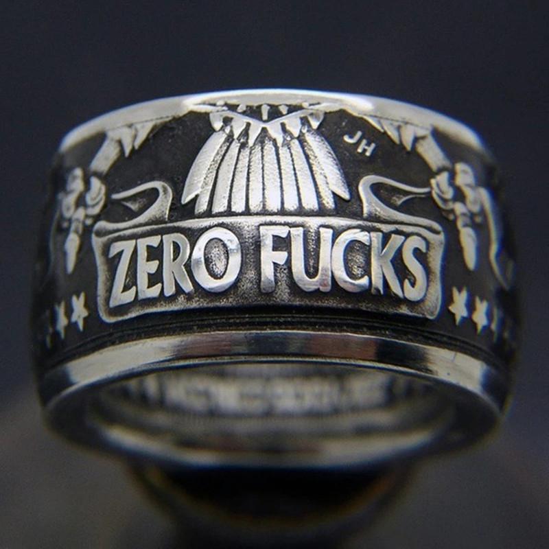 Мода Punk монет Кольца Vintage ручной работы Morgan Античная Цвет доллар Резные «ZERO FCK» Кольцо Сбор ювелирных изделий