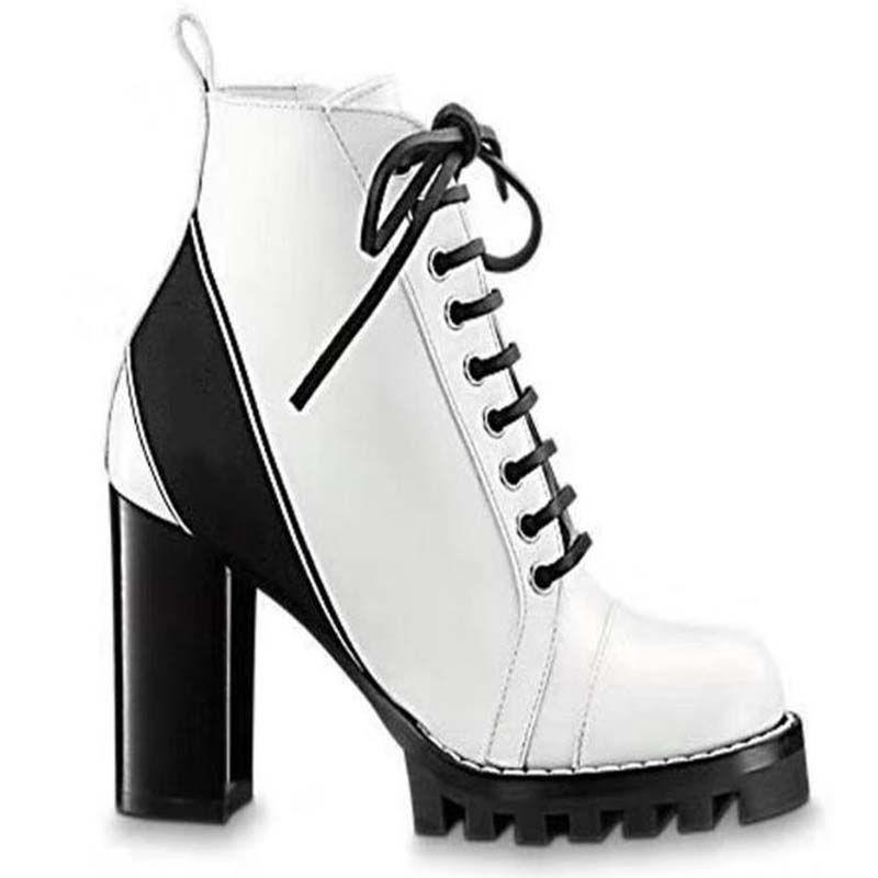 Moda Günlük Ayakkabılar yıldızı kadın botları Yeni Gerçek Deri Yuvarlak Burun Kadınlar Çizme Gladyatör Lace Up Kalın Topuk Ayak bileği Boots Ayakkabı M4