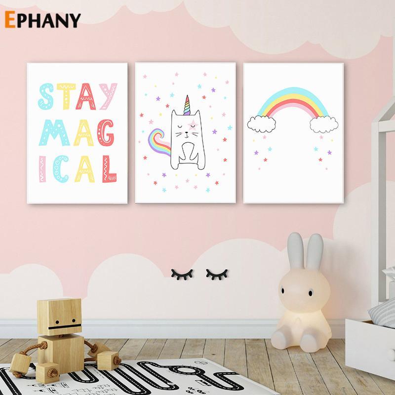 Stay Sihirli Çocuk Alıntı Poster Kreş Tuval Nordic Çocuklar Dekorasyon resim Bebek Odası Dekor Boyama Gökkuşağı Duvar Art Print