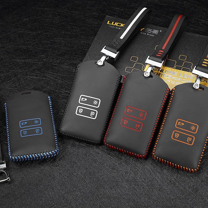 Car Key Case cover for Renault Koleos 2017 kadjar 2017 remote genuine Leather key case holder 4 button key