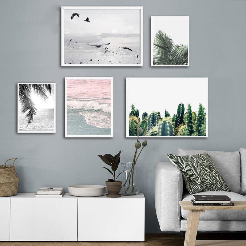 Playa del paisaje marino cartel de la lona del paisaje nórdico estilo tropical de la palmera Arte pintura de pared de la sala decorativo Decoración de impresión