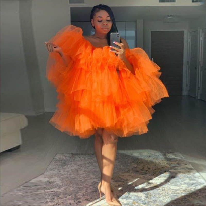 Naranja Mujeres Corta Homecoming Vestido Plus Tamaño Puffy Mini Tutu Faldas Terred Tulle Africano Cocktail Party Vestido Breve Vestidos de baile Vestidos